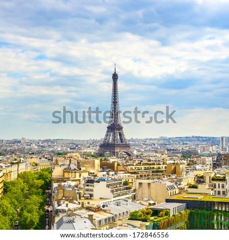 Eiffel Tower landmark, view from Arc de Triomphe. Paris cityscape. France, Europe. - stock photo