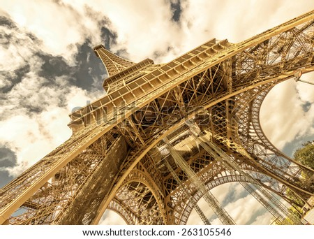 Eiffel Tower on a bright sunny day, Paris, France - stock photo