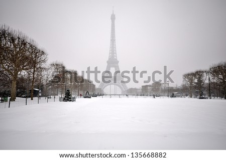 Eiffel Tower on a winter day - stock photo