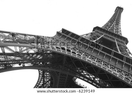 Eiffel tower on clear background in black and white - stock photo