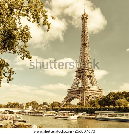 eiffel tower on river seine paris stock photo royalty free