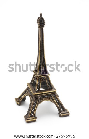 Eiffel tower on white background - stock photo