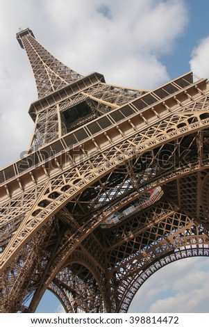 Eiffel Tower, Paris, France, Europe. View of the famous travel and tourism icon at daytime in spring