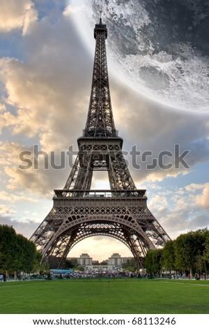 Eiffel Tower Paris France under the moon - stock photo