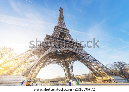 Eiffel Tower, Paris, France with cloudy sky - stock photo