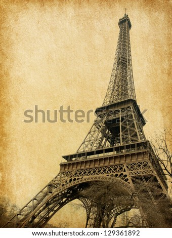 Eiffel tower. Photo in retro style. Paper texture. - stock photo