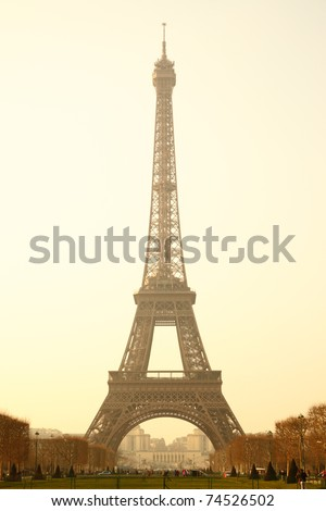Eiffel tower sepia toned, Paris, France. - stock photo