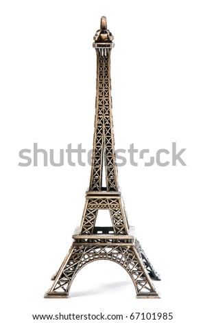 Eiffel Tower Statue, isolated on a white background - stock photo
