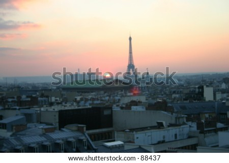 Eiffel Tower Sunset from distance - stock photo
