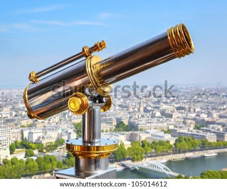 Eiffel Tower telescope - stock photo