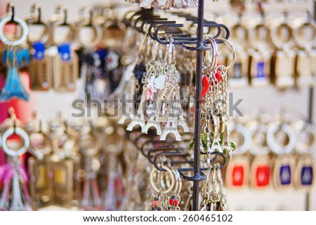 Eiffel tower trinkets for sale in Paris, France - stock photo