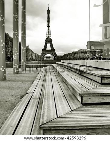Eiffel tower under sunset - stock photo