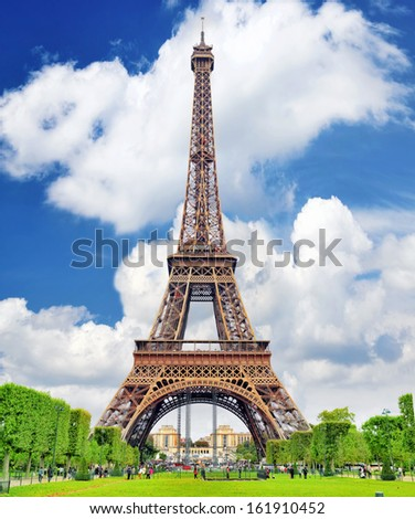 Eiffel Tower -view from the Champs de Mars.Paris, France - stock photo