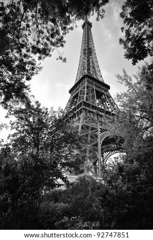 Eiffel tower view from the garden - stock photo
