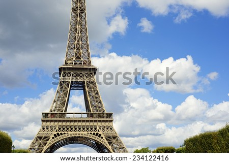 Eiffel Tower view in Paris, France.