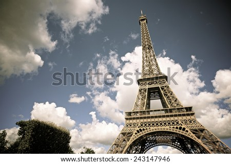 Eiffel Tower view in Paris, France. - stock photo
