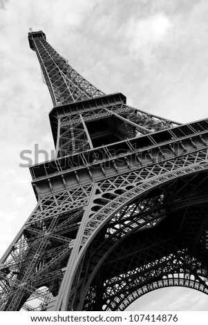 Eiffel Tower viewed from the ground - stock photo