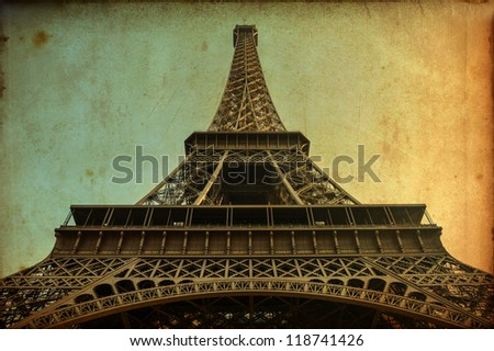 Eiffel tower vintage postcard