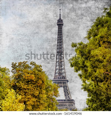 Eiffel tower vintage view in Paris, France - stock photo