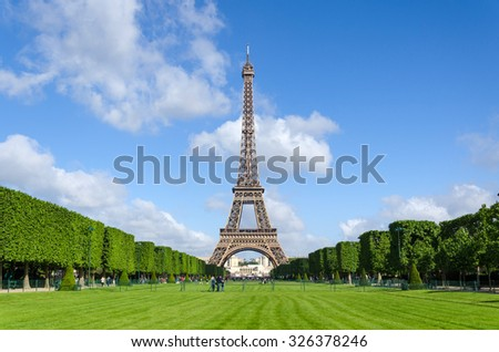 Eiffel Tower with blue sky in Paris, France. - stock photo