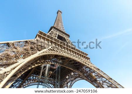 Eiffel Tower with blue sky summer, Paris France - stock photo