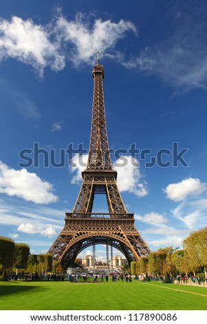 Eiffel tower with city park in Paris, France