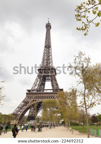 Eiffel Tower with cloudy sky in winter, Paris, France.
