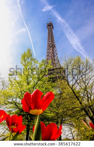 Eiffel Tower with red tulips in Paris, France - stock photo