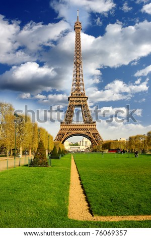 Eiffel Tower with spring garden, Paris, France - stock photo