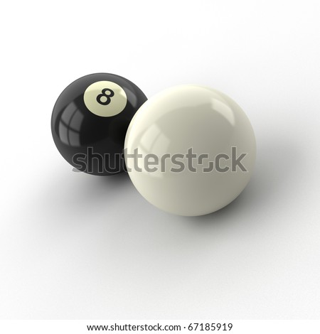 eight and white billiard balls isolated on white background - stock photo