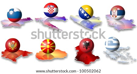 eight Balkan European flags in a shape of a ball / European flags Balkan - stock photo