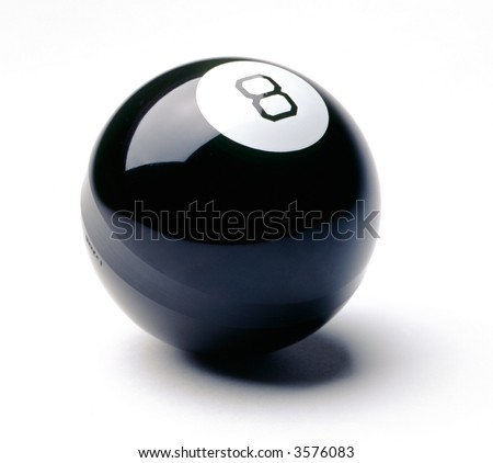 eight ball on white - stock photo