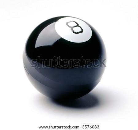 eight ball on white - stock photo