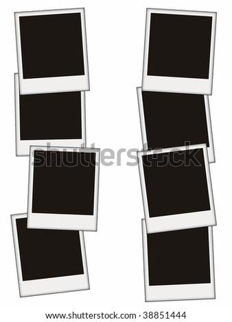 eight blank photos isolated on white - stock photo