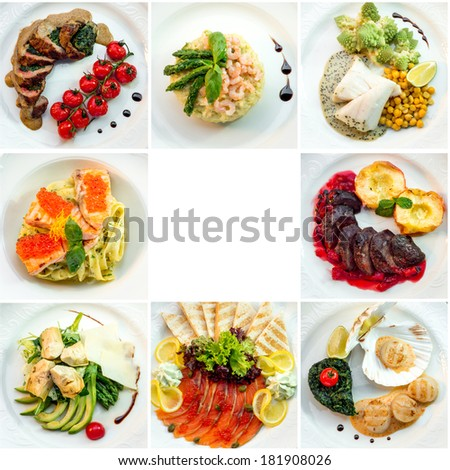 eight different restaurant dishes top view with place for text - stock photo