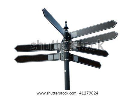 Eight direction City pointer blank - stock photo