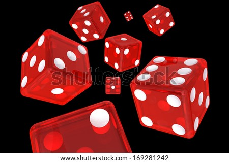 Eight Isolated Red Dice 3D Illustration (with clipping path) - stock photo