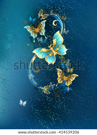 Eight of the luxury, jewelry, gold butterflies on blue textural background.Design with butterflies. Golden Butterfly. Bright butterfly. March 8. Festive design.  - stock photo