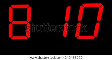 Eight one and zero from a digital time clock - stock photo