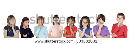 Eight pensive children thinking isolated on a white background - stock photo