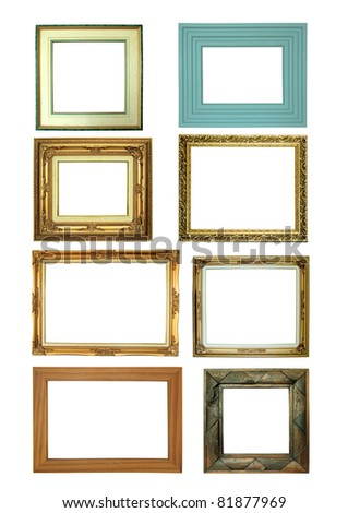 Eight picture frames isolated on white background