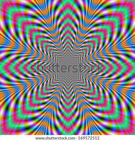 Eight Pointed Psychedelic /  Digital abstract fractal image with an eight pointed psychedelic design in orange, pink, blue and green.