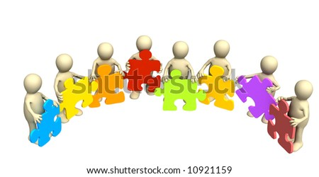 Eight puppets, holding in hands a puzzle of different color. Objects over white
