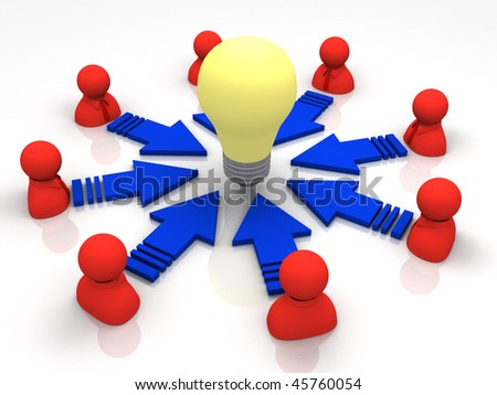 eight red characters standing around and a bulb at the center - stock photo