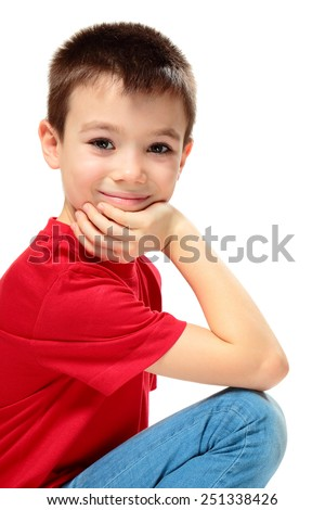 Eight years boy wearing red shirt on white background - stock photo