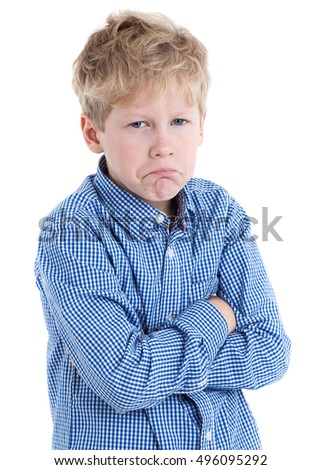 Eight years Caucasian boy with arms folded and a sour face, isolated on white background