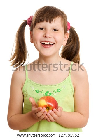 Eight years Girl holding apple isolated on white - stock photo