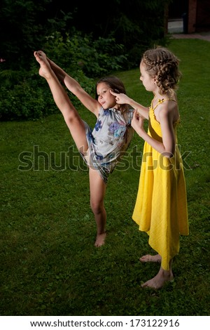 Eight years old girls  on the fresh air  - stock photo