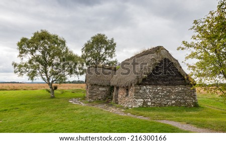 Eighteenth century thatch roof stone cottage on the famous battlefield of Culloden, Scotland