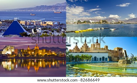 Eilat is a famous resort and recreation Israeli town located on northern part of the Aqaba gulf, Red Sea - stock photo